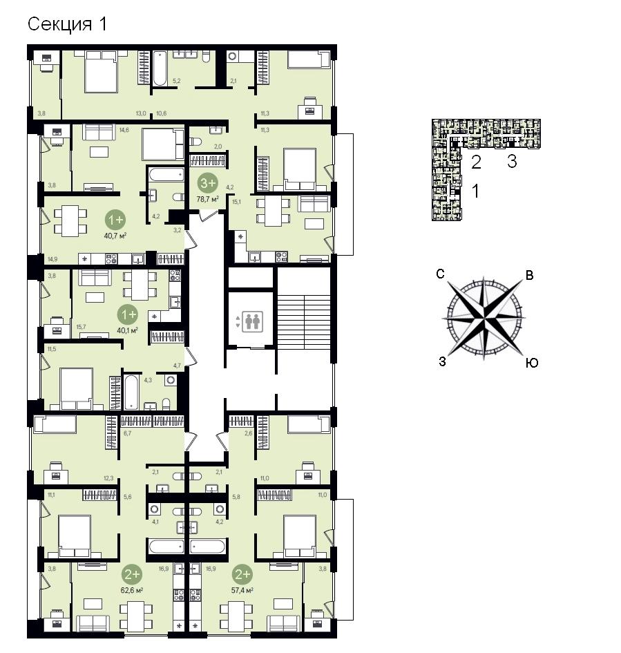 ГП-17 мкр Видный план этажа 1 секция