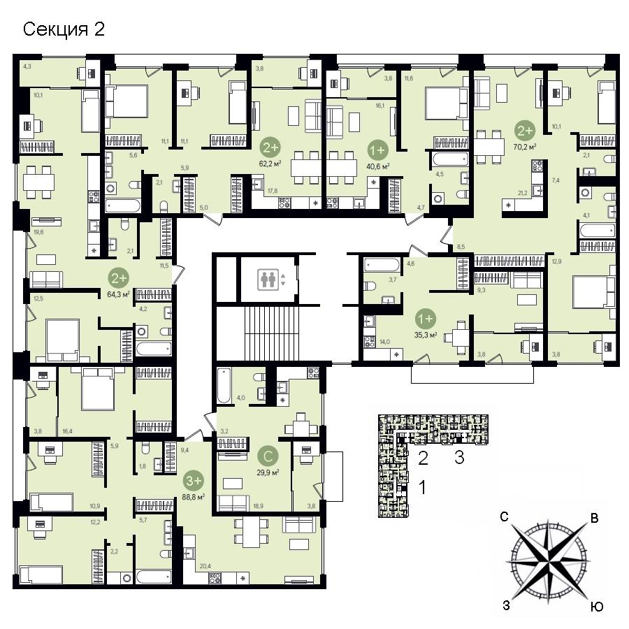 ГП-17 Видный план этажа 2 секция