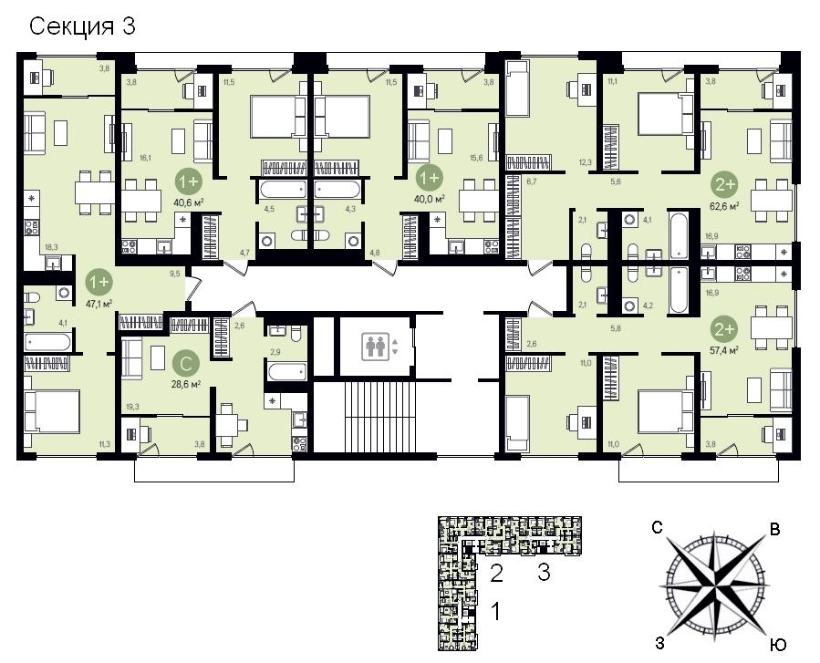 ГП-17 Видный план этажа 3 секция